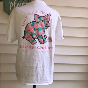Simply Southern White Tee « love you pig time » M